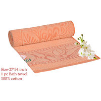 Deal Wala 1 Piece Of  Orange Color Cotton Bath Towel - Hh18