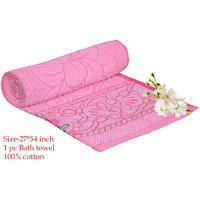 Deal Wala 1 Piece Of  Pink Color Cotton Bath Towel - Hh19