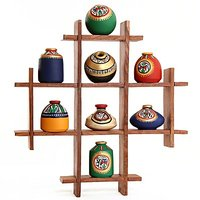 8 Terracotta Warli Handpainted Pots With Sheesham Wooden Frame