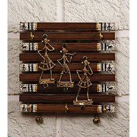 Dhokra Craft & Warli painted fusion Key Holder Option 1