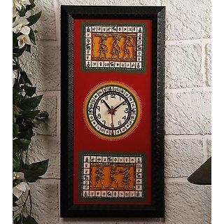 Black & Red Dhokra & Warli Fusion Clock Design 2