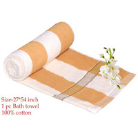 Deal Wala 1 Piece Of Yellow  Stripe Design Bath Towel - Hh34
