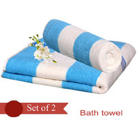 Deal Wala Pack Of 2 Blue Stripe Design Bath Towel - Hh39
