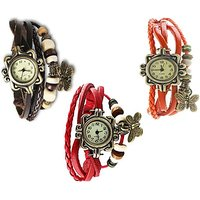 dory  Vintage pack of 3 Bracelet Vizor Analog Watch  - For Women by miss