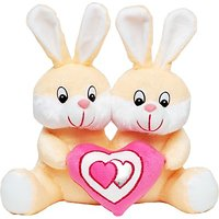 Tabby Toys Cute Bunny Couple With Heart  - 30 cm (Beige, White)