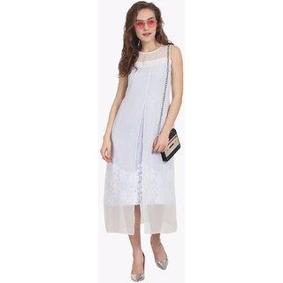 Soie Womens Blue Plain Dress