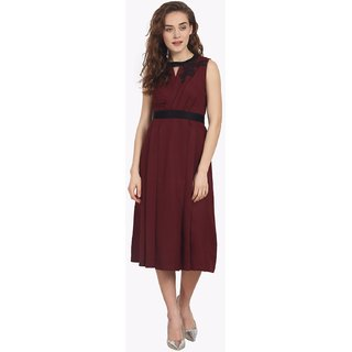 Soie Womens Maroon Plain Dress