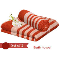 Deal Wala Pack Of 2 Dark Orange Bath Towel - Hh50
