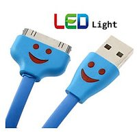 LED Light IPhone Data Cable Flat For Iphone 4 4s Best Quality Usb - 4428154