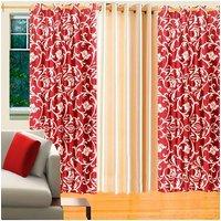 Deal Wala Pack Of 2 Maroon Leafs Design & 1 Cream Eyelet Door Curtain - Vip17