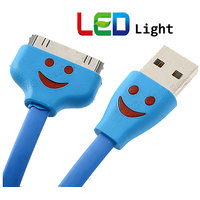 LED Light IPhone Data Cable Flat For Iphone 4 4s Best Quality Usb
