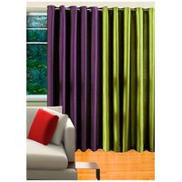 Deal Wala 1 Purple & 1 Green Eyelet Door Curtain - Vip43