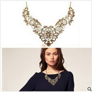 New Fashion Jewelry Lace Effect Metal Filament Short Necklace