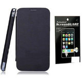 Hoa Flip Cover For Samsung Galaxy Note 2 Note Ii Note2 N7100 + Screenguard - Black 7100+Sg/Black