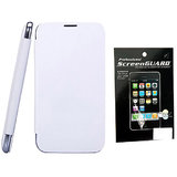 Hoa Flip Cover For Samsung Galaxy Note 2 Note Ii Note2 N7100 + Screenguard + Aux - White 7100+Sg+Aux/White
