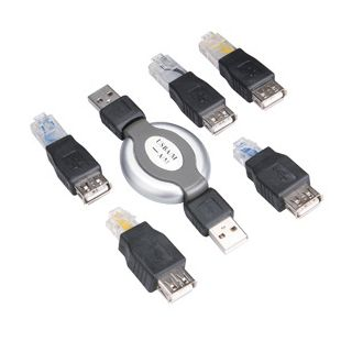 6 in 1 Multifunctional USB Retractable Cable RJ45 RJ11 Connector Adapter kit