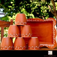 Earthen Ceramic Kulhad(Set of 6) with Ceramic Tray