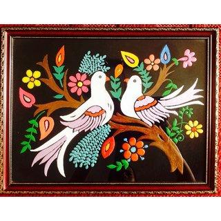 Love Birds Fabric Emboss Painting 13042545
