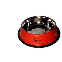 Petsplanet Stainless Steel Stylish Dog Food Bowl - RED 1800 ML