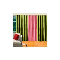 Deal Wala Pack Of  2 Green & 1baby Pink Eyelet Door Curtain - 59