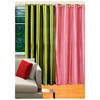 Deal Wala 1 Green & 1 Baby Pink Eyelet Door Curtain - Vip62