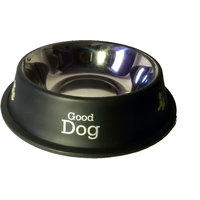 Petsplanet Stainless Steel Stylish Dog Food Bowl - BLACK 920 ML