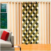 Deal Wala Pack Of 2 Cream & 1 Box Design Green Eyelet Door Curtain -vip79