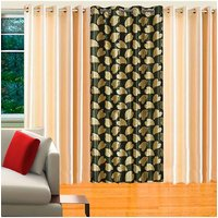 Deal Wala Pack Of 2 Cream & 1 Bale Design Green Eyelet Door Curtain - Vip86
