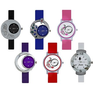 Glory Combo of 6 Diamond Studded Multi Color Fancy look Women Analog Watches A