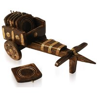 Exclusive Wooden Cart Shape Coasters Set With 6 Plates
