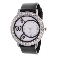 Glory Black Diamond Fancy Letest Butterfly Print Collection Analog Watch - For Women by miss a