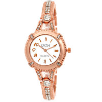 DCH Round Dial Rose Gold Analog Watch For Women