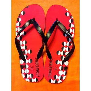 Red Polka Dots Flip Flops, Open Toed, with Slip-on Styling (Size-10)