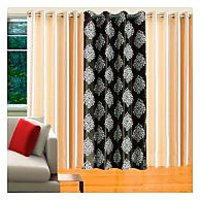 Deal Wala Pack Of 2 Cream & 1 Mask Design Dark Green Eyelet Door Curtain - Vip94
