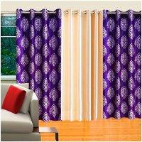 Deal Wala Pack Of 2 Purple Mask Design & 1 Cream Door Curtain - Vip125