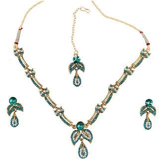 Asian Pearls & Jewels Blue Austrian Diamond Necklace Set
