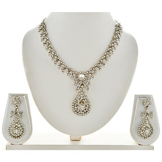 Asian Pearls & Jewels Necklace Set With Austrian Diamonds