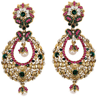 Asian Pearls & Jewels Pink And Golden Fashion Earrings