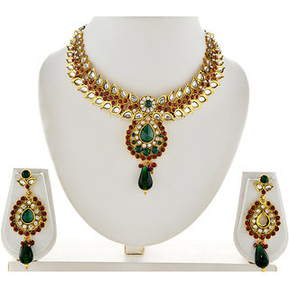 Asian Pearls & Jewels Multi Colour Kundan Necklace Set
