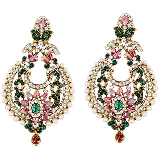 Asian Pearls & Jewels Pink And Green Fashion Earrings