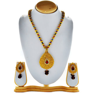 Asian Pearls & Jewels Golden Pendant Necklace Set - 4453840