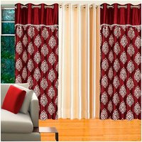 Deal Wala Pack Of 2 Mask With Lace Maroon & 1 Cream Door Curtain - Vip135