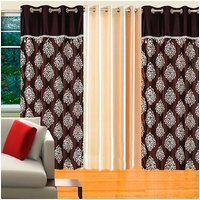 Deal Wala Pack Of 2 Mask With Lace Brown & 1 Cream Door Curtain - Vip136