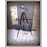 Big Floor Searchlight Electric Lamp With Timber Wood Tripod Stand Black Decor