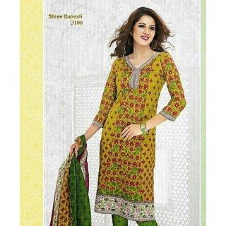 Shree Ganesh Premium Cotton Printed Designer Suit Salwar Kameez Dress Material