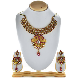 Asian Pearls & Jewels Pink Kundan Necklace Set