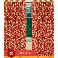 Deal Wala Pack Of 2 Leafs Design Rust  Eyelet Door Curtain - Vip173