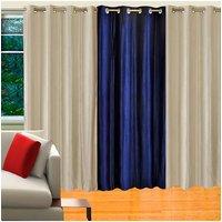 Deal Wala Pack Of 2 Silver & 1 Royal Blue Eyelet Door Curtain - Vip183