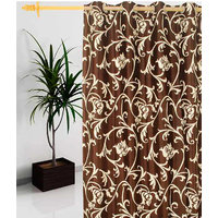 Deal Wala 1 Piece Of Leafs Design Brown  Eyelet Door Curtain - Vip201