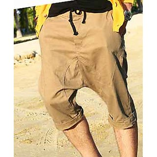 Hip Hop  Drop Crotch Shorts With Pockets In Khaki